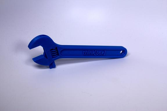 A plastic wrench designed by Case Western Reserve University student C.J. Valle and created by a 3D printer.