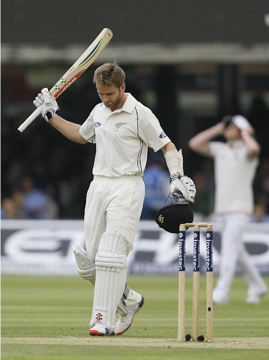 New Zealand's Kane Williamson celebrates scoring a century during the third day of the first Test match between England and New Zealand at Lord's cricket ground in London, Saturday, May 23, 20