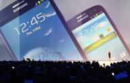 A display of tSamsung Electronics' latest smartphone, the Galaxy S3, during a launch event in London on May 3, 2012