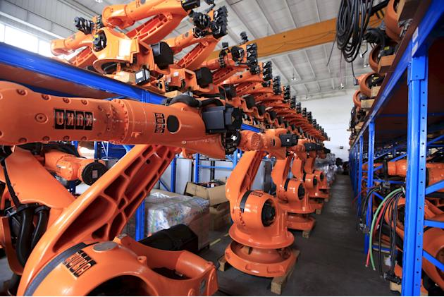File picture of second-hand robots seen in a factory in Shanghai