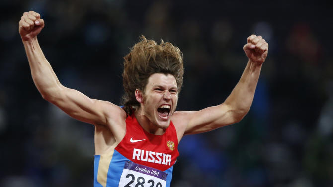 Russia's Ivan Ukhov reacts after winning the men's high jump final during the London 2012 Olympic Games