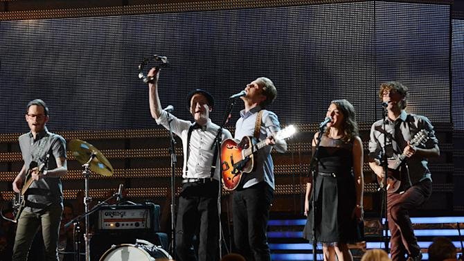 The 55th Annual GRAMMY Awards - Show: Stelth Ulvang, Jeremiah Fraites, Wesley Schultz, Neyla Pekarek and Ben Wahamaki of The Lumineers