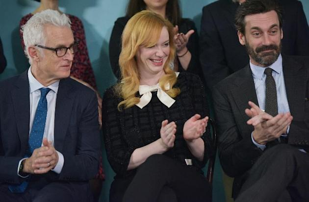"Actors in the AMC television series ""Mad Men"" (L-R) John Slattery; Christina Hendricks and Jon Hamm attend an event at the Smithsonian National Museum of American History on March 27, 2015 i"