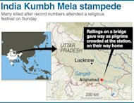 Graphic showing Allhabad where at least 36 people died in a stampede as pilgrims headed home from India's giant Kkumbh Mela festival on Sunday
