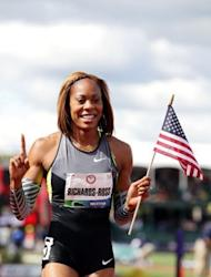 Sanya Richards-Ross celebrates after winning the women's 400m dash final at the US Olympic Track & Field Team Trials on June 24. Richards-Ross, aiming for a 200-400 double at London, secured the first part of her bid by winning the 400m in 49.28sec