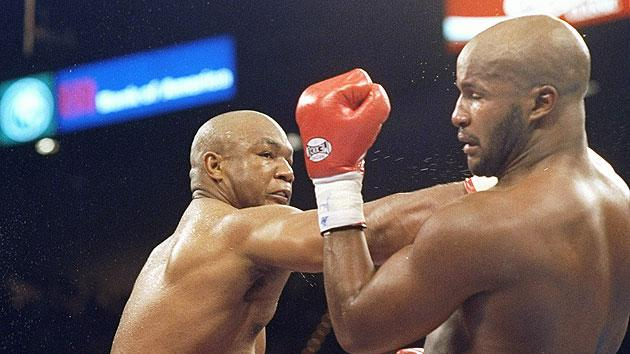 "George Foreman KO10 Michael Moorer, Nov. 5, 1994 – Foreman was 45 years old and trying to regain the heavyweight title. He was being badly outboxed by Moorer throughout the first nine rounds, when his legendary punching power came to the rescue. Foreman threw a jab and a straight right behind it, crumpling Moorer, as HBO broadcaster Jim Lampley shouted, ""It happened! It happened!"" Foreman became, at 45, the sport's oldest heavyweight champion."
