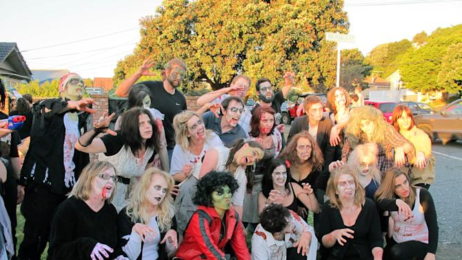 "In this photo taken Oct. 31, 2012, Weta Digital staff celebrate Halloween in the company's Wellington studios in New Zealand. Previously never celebrated, Halloween now has a place in the region due to the large influence of Americans who come down under seeking work in the studios film making enterprises.  Weta Digital is the centerpiece of a filmmaking empire that Peter Jackson and close collaborators have built in his New Zealand hometown, realizing his dream of bringing a slice of Hollywood to Wellington. It's a one-stop shop for making major movies - not only his own, but other blockbusters like ""Avatar"" and ""The Avengers"" and hoped-for blockbusters like next year's ""Man of Steel."" (AP Photo/Nick Perry)"