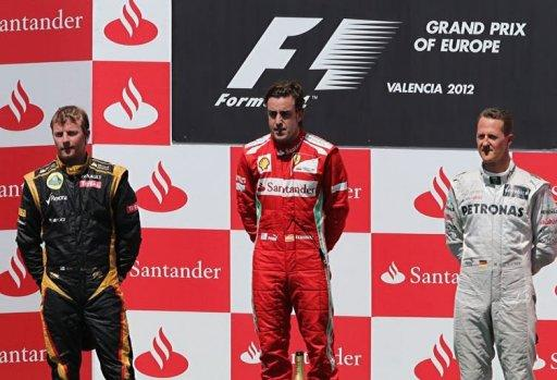 L to R: Kimi Raikkonen, Fernando Alonso and Michael Schumacher