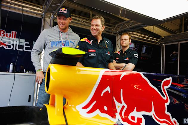 NORTHAMPTON, UNITED KINGDOM - JULY 11:  Cricketer Andrew Flintoff visits the Red Bull Racing garage before the British Formula One Grand Prix at Silverstone on June 11, 2010, in Northampton, England.