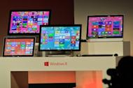Microsoft displays its new tablet computer and Windows 8 software to the media in Shanghai on October 23, 2012