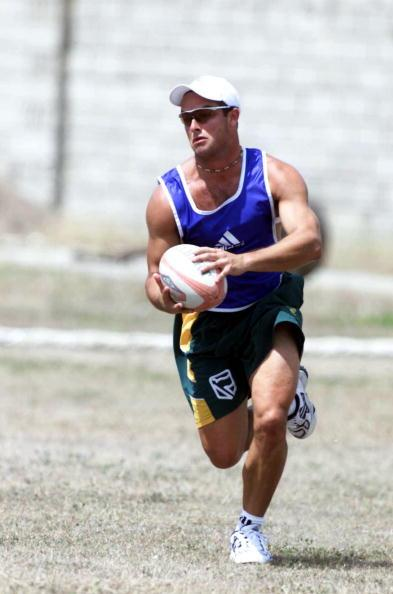 27 Apr 2001:  Mark Boucher playing touch rugby during training in Kingston Jamaica during the South African tour to the West Indies. DIGITAL IMAGE Mandatory Credit: Touchline Photo/ALLSPORT