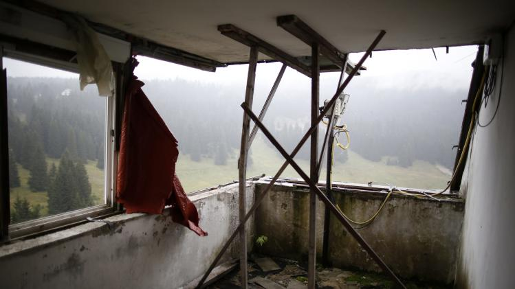 A view of the disused judges room for the ski jump from the Sarajevo 1984 Winter Olympics on Mount Igman, near Sarajevo