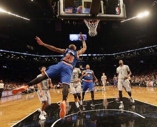 El partido de la NBA entre los New York Knicks y los Brooklyn Nets en el Barclays Center, en Nueva York, el 15 de abril de 2014