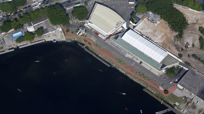 An aerial view of the rowing stadium under renovation for the Rio 2016 Olympic Games in Rio de Janeiro