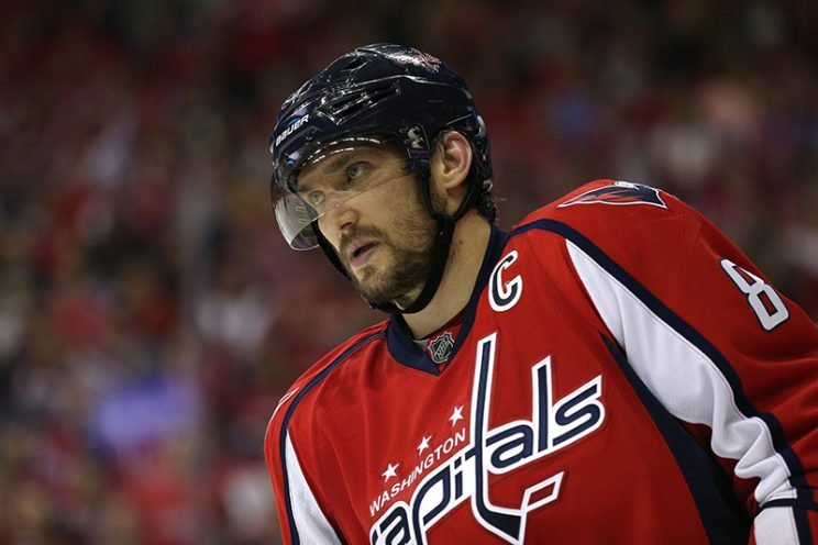 WASHINGTON, DC - MAY 07: Alex Ovechkin #8 of the Washington Capitals looks on against the Pittsburgh Penguins in Game Five of the Eastern Conference Second Round during the 2016 NHL Stanley Cup Playoffs at Verizon Center on May 7, 2016 in Washington, DC. (Photo by Patrick Smith/Getty Images)