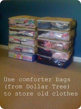 Use Old Comforter Packages as Storage
