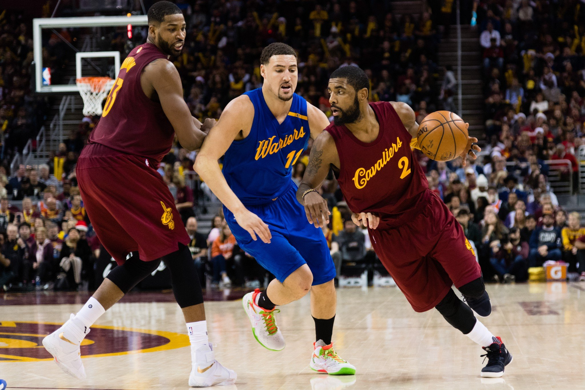 Klay Thompson and Kyrie Irving will lock horns in this year's Three-Point Contest. (Getty Images)