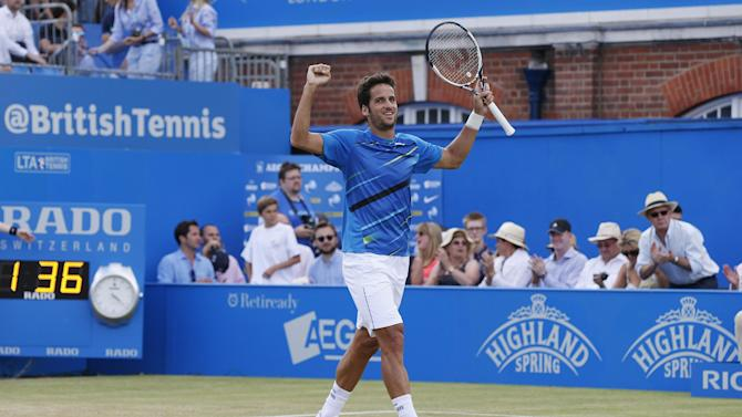 Tennis - Lopez stuns Berdych to reach last four at Queen's, Wawrinka progresses
