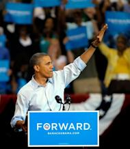 "US President Barack Obama waves to supporters at a campaign rally in Richmond, Virginia. Obama officially kicked off his 2012 campaign for re-election with a new rallying cry of ""Forward"" but told supporters that the election campaign is ""still about hope"" -- his campaign theme in 2008"