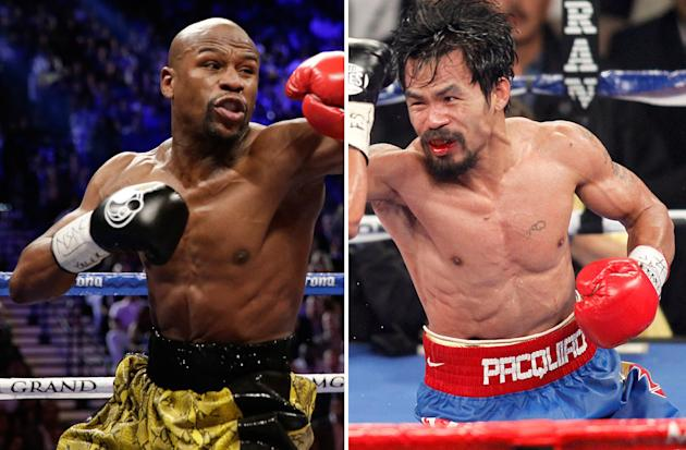 FILE - At left, in a May 4, 2013, file photo, Floyd Mayweather Jr. exchanges punches with Robert Guerrero (not shown) in a WBC welterweight title fight in Las Vegas. At right, in a Nov. 12, 2011, file