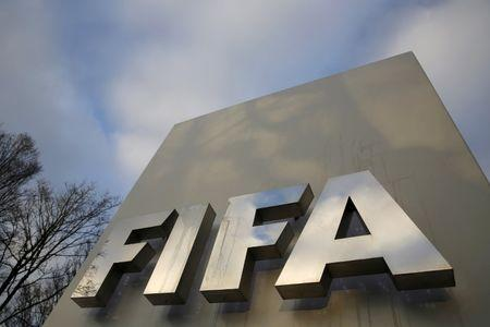 FIFA sign is seen outside the FIFA headquarters in Zurich