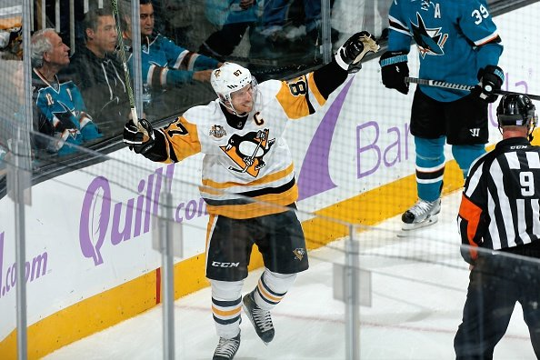 SAN JOSE, CA - NOVEMBER 5: Sidney Crosby #87 of the Pittsburgh Penguins celebrates his goal during a NHL game against the San Jose Sharks at SAP Center at San Jose on November 5, 2016 in San Jose, California. (Photo by Don Smith/NHLI via Getty Images)
