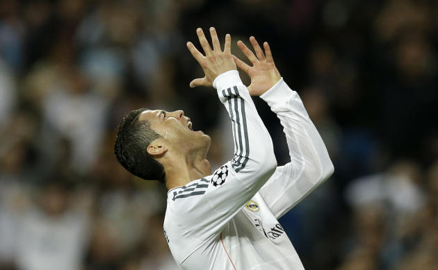 Real's Cristiano Ronaldo reacts after failing to score during a Champions League semifinal first leg soccer match between Real Madrid and Bayern Munich at the Santiago Bernabeu stadium in Madrid,
