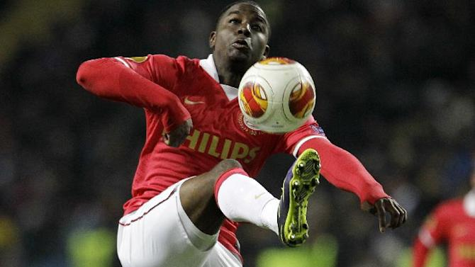 Netherlands PSV's Jetro Willems challenges for the ball during a Europa League Group B soccer match between FC Chornomorets and  PSV Eindhoven at the Chornomorets  stadium in Odessa , Ukraine, Thursday, Oct. 3, 2013
