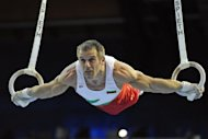 Bulgarian veteran Jordan Jovtchev, seen here in 2008, -- set to be the first male gymnast ever to compete in six Olympic games -- said Wednesday he will be his country's flag-bearer for the opening ceremony in London