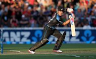 New Zealand's Brendon McCullum hits a shot against England during the International Twenty20 cricket match at Snedden Park in Hamilton on Febuary 12, 2013. McCullum inspired his team to a crushing 55-run win over England in the second Twenty20 international in Hamilton on Tuesday, levelling the series 1-1