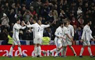 Football Soccer - Real Madrid v Real Sociedad - Spanish Liga Santander - Santiago Bernabeu, Madrid, Spain - 29/01/17 Real Madrid's Alvaro Morata (L) celebrates scoring a goal with team mates. REUTERS/Susana Vera/Files