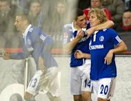 Schalke's Finnish forward Teemu Pukki (R) celebtrates scoring with teammates Greek defender Kyriakos Papadopoulos (C) and US midfielder Jermaine Jones during the German first division Bundesliga football match Hannover 96 vs Schalke 04 in the northern German city of Hanover. Pukki scored twice on his first full appearance for Schalke 04 to earn a point for his side in their 2-2 draw
