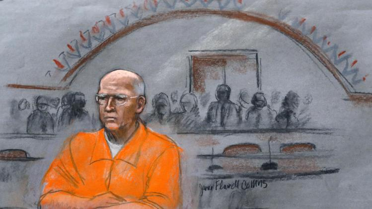 "In this courtroom sketch, James ""Whitey"" Bulger sits at his sentencing hearing in federal court in Boston, Wednesday, Nov. 13, 2013. Bulger was convicted in August in a broad indictment that included racketeering charges in a string of murders in the 1970s and '80s, as well as extortion, money-laundering and weapons charges. (AP Photo/Jane Flavell Collins)"