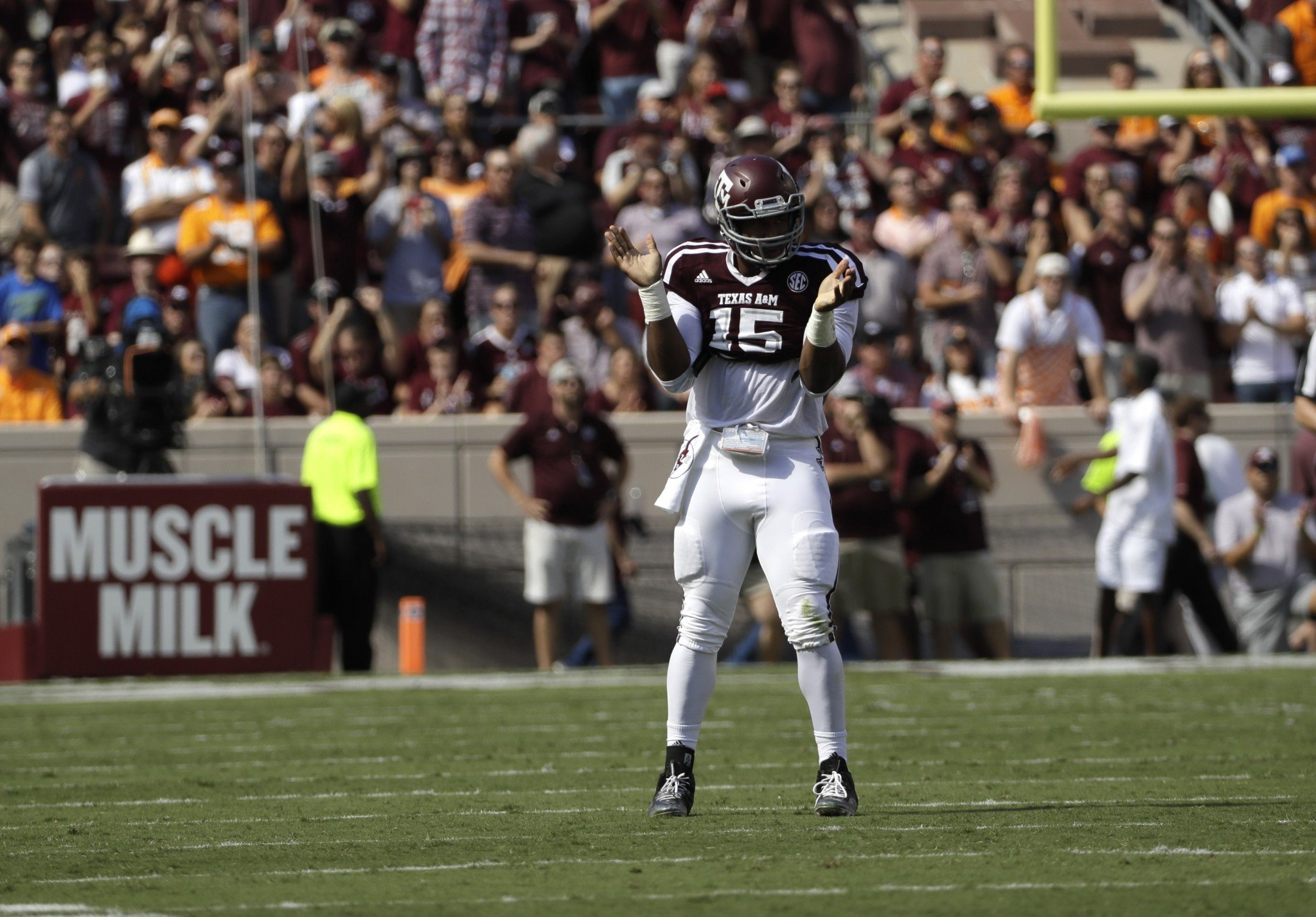 Texas A&M pass rusher Myles Garrett could be the top pick in the 2017 NFL draft. (AP)