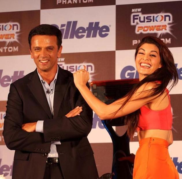 Former Indian cricket captain Rahul Dravid and actress Jacqueline Fernandez during the launch of Gillette`s new revolutionary shaving system in Mumbai on October 28, 2013. (Photo: IANS)
