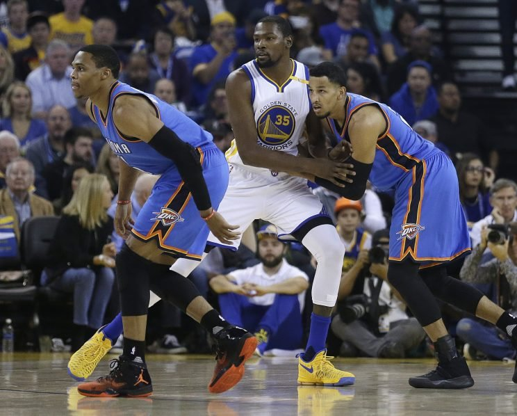 Russell Westbrook came to the defense of Andre Roberson's defense. (AP)