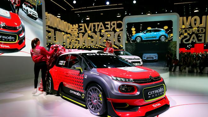 A Citroen C3 WRC car is displayed on media day at the Mondial de l'Automobile, the Paris auto show, in Paris