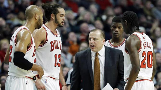 Chicago Bulls head coach Tom Thibodeau talks to his team during the second half of an NBA basketball game against the Dallas Mavericks in Chicago on Saturday, Dec. 28, 2013. The Mavericks won 105-83