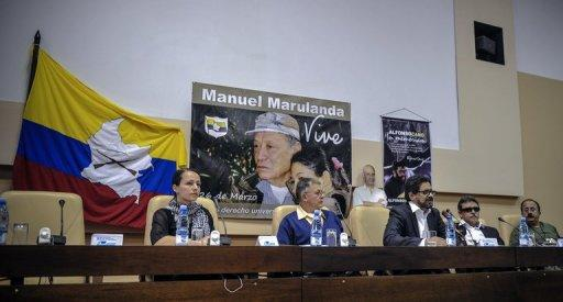 Members of the Revolutionary Armed Forces of Colombia (FARC) delegation for peace talks with the Colombian government, (L-R) Tanja Nijmeijer, Rodrigo Granda, Ivan Marquez, Jesus Santrich and Andres Paris, hold a press conference in Havana, November 29. Colombia will resume peace talks with the FARC Wednesday amid rising tensions after government forces killed at least 20 rebels