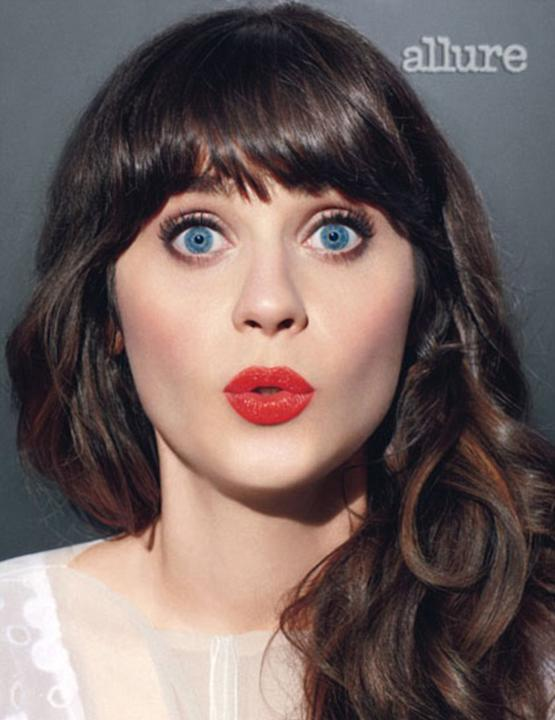 """Zooey Deschanel looked amazing in a photo-shoot for Allure magazine. The actress went onto reveal that she feels that her hairstyle defines her. """"Eyes and bangs is what I'm about,"""" she said. We have t"""