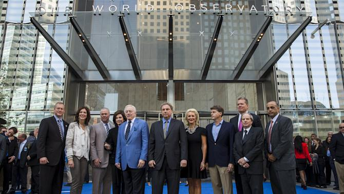 Officials after cutting the ribbon celebrating the public opening of the One World Observatory in the Manhattan borough of New York
