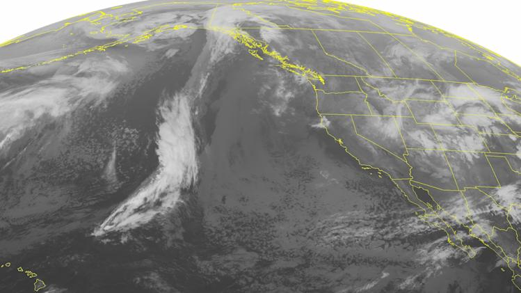 This NOAA satellite image taken Sunday, Feb. 10, 2013 at 2:00 a.m. EST shows a developing storm system entering the Plains States with rain and thunderstorms in the Central and Southern Plains and snow in the Northern Plains and portions of the Rocky Mountains. (AP Photo/Weather Underground)