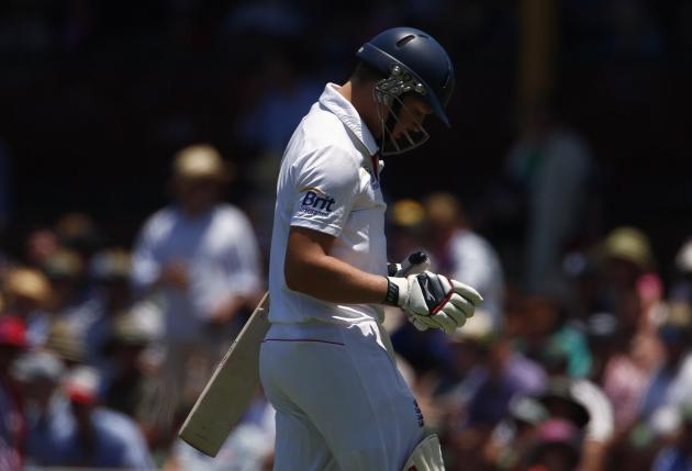 England's Ballance walks off the field after being dismissed for 18 runs during the second day of the fifth Ashes cricket test against Australia at the Sydney cricket ground