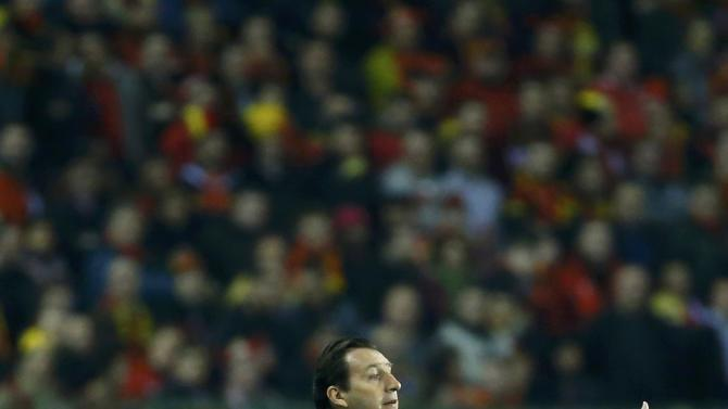 Belgium's coach Wilmots reacts during their international friendly soccer match against Ivory Coast at King Baudouin Stadium in Brussels