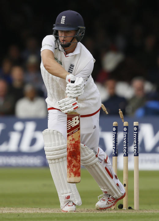 England's Gary Balance is bowled by New Zealand's Tim Southee during the third day of the first Test match between England and New Zealand at Lord's cricket ground in London, Saturday, May