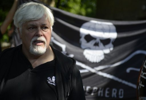 Paul Watson, Canadian founder and president of the Sea Shepherd Conservation Society, attends a demonstration in Berlin in May 2012. Watson, who is wanted by Interpol, has confirmed he is back onboard a Sea Shepherd vessel and ready to confront Japanese whalers.