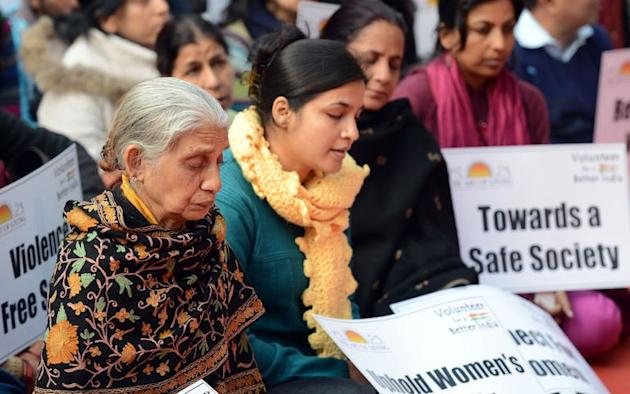 Protesters participate in a prayer meeting for the rape victim in New Delhi on January 5, 2013. Claims of police incompetence and public apathy stirred fresh outrage on Saturday in the case of a New Delhi gang-rape victim after her boyfriend recounted witnessing the horrific crime for the first time