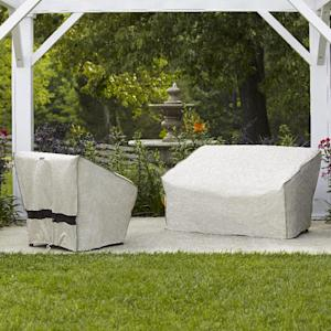 This publicity photo provided by Lowe's Home Improvement shows a allen + roth Trellis Pattern Polyester Conversation Chair Cover, left, and a allen + roth Trellis Pattern Polyester Loveseat Cover used to protect patio furniture from the elements year round. Whether you're able to afford a pricey patio set or if you're on a budget, you'll want to keep your outdoor furniture looking great for a long time with some simple tips for upkeep and storage. (AP Photo/Lowe's Home Improvement)