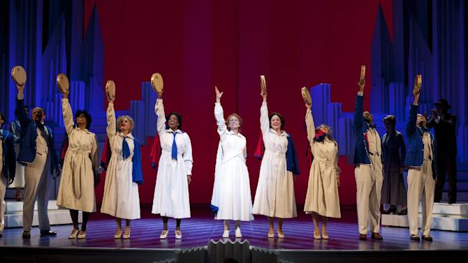 """This theater image released by The Publicity Office shows Carolee Carmello, center, during a performance of the musical """"Scandalous: The Life and Trials of Aimee Semple McPherson,"""" at the Neil Simon Theatre in New York. (AP Photo/The Publicity Office, Jeremy Daniel)"""
