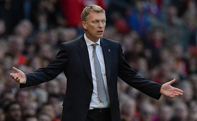 David Moyes reacts during an English Premier League football match in Manchester, northwest England on October 26, 2013